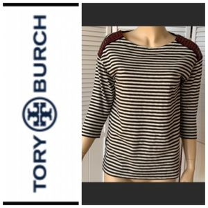 Tory Burch black and white striped top
